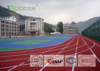 Red Surface Outdoor Sports Field Flooring Buffer Coat Layer , Seamless Design