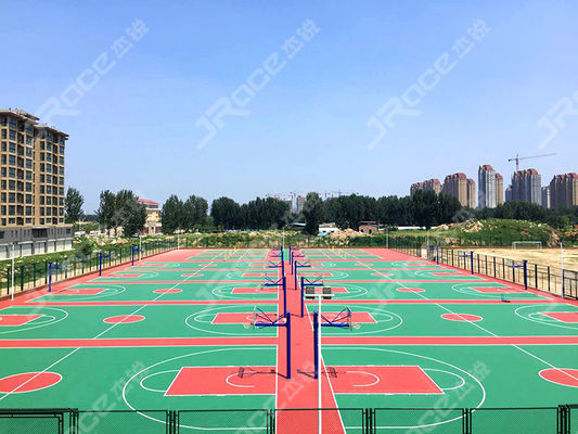 Full Silicone Material Tennis Sport Court Flooring In Blue Color All Weather Resistance