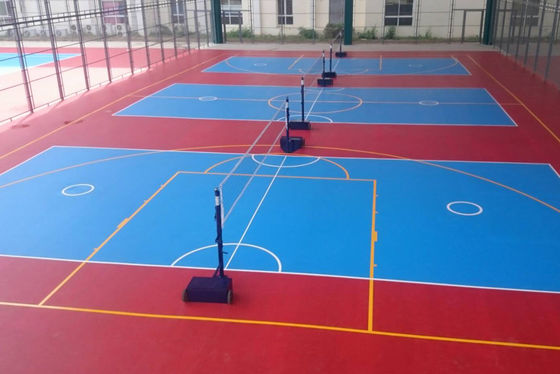 Eco-friendly Synthetic Material Basketball Sport Court Flooring In Red Color