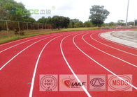 Red Synthetic Athletic Track Flooring , Jogging Track Material Used For Running Tracks