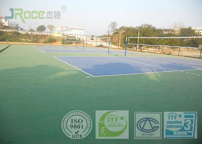 Olympic Tennis Court Surface , PU Sports Flooring Anti Slippery Sound Reduction