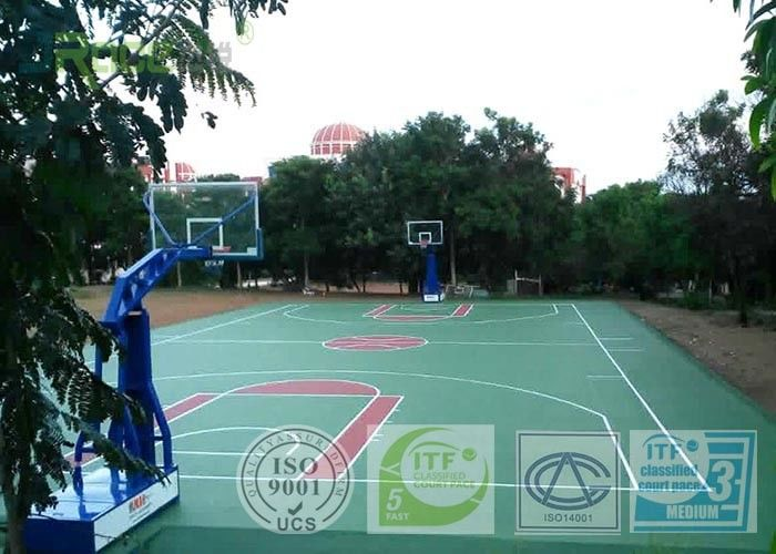 Recycled Multi Sport Court Flooring , Outdoor Basketball Court Tiles  Acrylic Paint