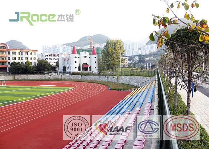 Water Borne Rubber Track Material , Recycled Red Running Track In High School