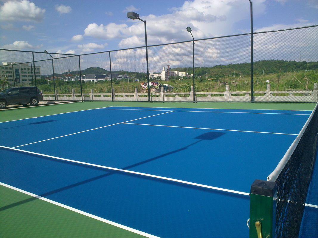 High Hardness Olympic Blue Color Acrylic Sports Flooring For Tennis Court Easy To Install