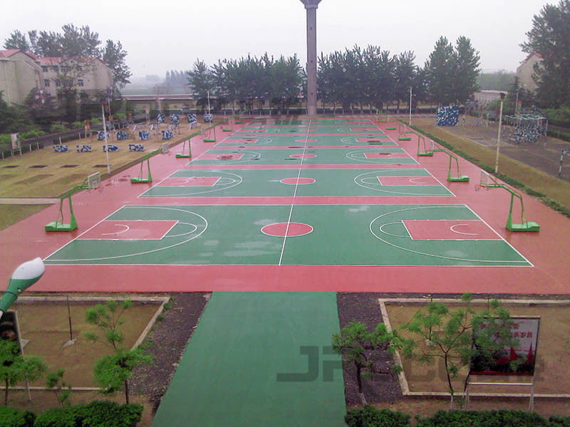 Polyurethane Material Multifunctional Rubber Sport Court Flooring Purple Or Maple Color