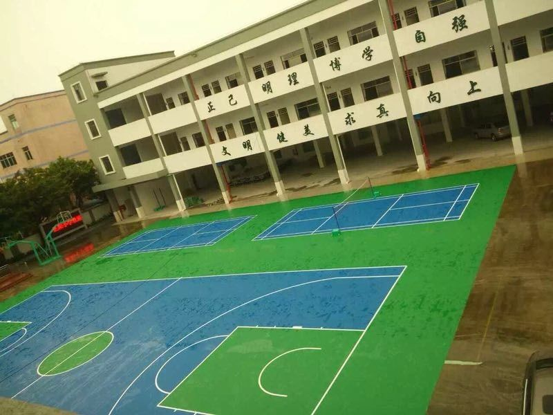 Paint Coating Abrasion Resistant Acrylic Sports Flooring With Blue Color