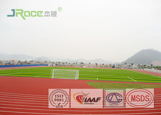 China Rubber Material Polyurethane Track Surface , Painting Synthetic Running Track For Stadium factory