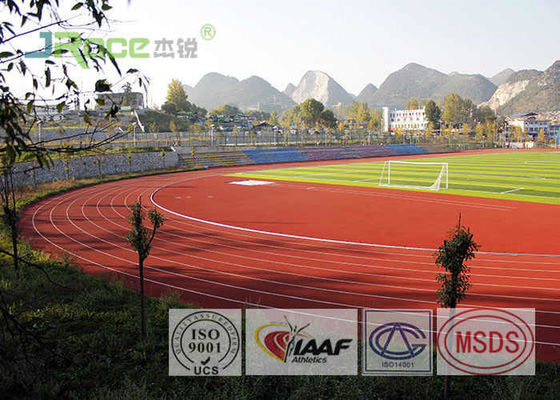 China Safety Rubberized Track Surface , Synthetic Track For Running IAAF Certificated factory