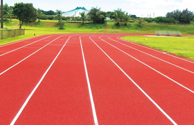 IAAF Standard Synthetic Rubber Running Track Flooring For Sports Games Red Color