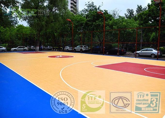7MM Multi - purpose Outdoor Sports Field With Polyurethane Material Maple Color
