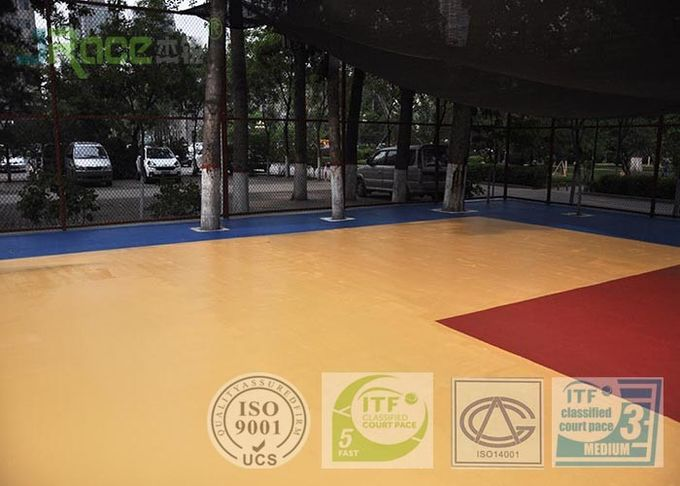 IAAF Anti - ultraviolet Maple Outdoor Basketball Court Flooring Material For School Playground / Stadium